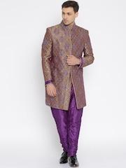 Raymond Ethnix Purple & Gold-Toned Sherwani