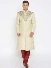 Raymond Ethnix Cream-Coloured & Maroon Sherwani