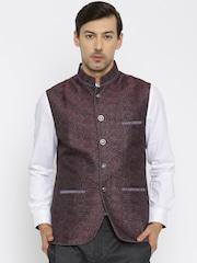 Raymond Ethnix Purple & Maroon Nehru Jacket