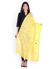 SOUNDARYA Yellow Bandhani Print Sequinned Dupatta