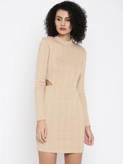 FOREVER 21 Women Beige Self-Design Sheath Dress
