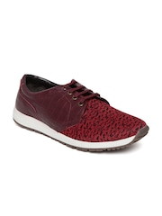 Knotty Derby Men Maroon Patterned Casual Shoes