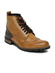 Knotty Derby Men Brown Colourblocked High-Top Brogue Boots