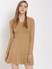 FOREVER 21 Women Beige Solid Fit & Flare Dress