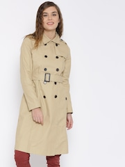 FOREVER 21 Khaki Double-Breasted Belted Overcoat