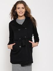 FOREVER 21 Black Belted Longline Jacket