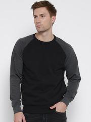 Fort Collins Black & Charcoal Grey Colourblocked Sweatshirt