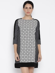 AND Women Black Printed A-line Dress