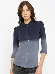 AND Women Blue Faded Casual Shirt