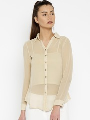 AND Women Beige Regular Fit Solid Casual Sheer Shirt