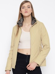 Fort Collins Beige Faux Leather Quilted Jacket