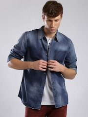 GUESS Men Blue Washed Denim Shirt