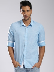 GUESS Men Blue Solid Casual Shirt