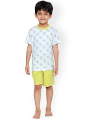 United Colors of Benetton Boys White & Yellow Printed Lounge Set BY041