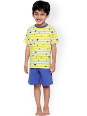 United Colors of Benetton Boys Yellow & Blue Printed Lounge Set BY181
