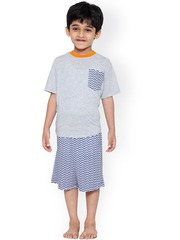 United Colors of Benetton Boys Grey & Navy Printed Lounge Set BY231