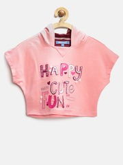Nauti Nati Girls Pink Printed Hooded Crop Sweatshirt