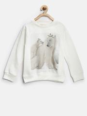 Nauti Nati Girls Off-White Printed Sweatshirt