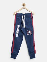 Nauti Nati Boys Navy Printed Track Pants