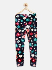 Nauti Nati Girls Navy Floral Print Leggings