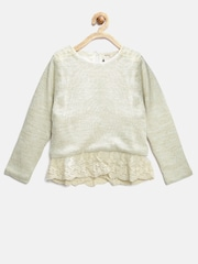 Nauti Nati Girls Off-White Shimmer Lace Sweater