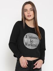 Vero Moda Black Printed Crop Sweatshirt