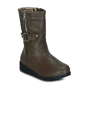 Get Glamr Women Brown Solid High-Top Flat Boots