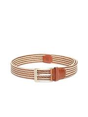 Roadster Men Brown & Off-White Braided Belt