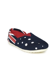 Lavie Women Navy Blue & Red Printed Loafers