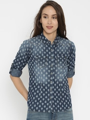 SPYKAR Women Blue Printed Denim Shirt