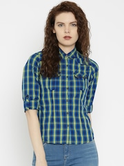 SPYKAR Women Blue Slim Fit Checked Casual Shirt