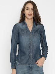 SPYKAR Women Navy Solid Denim Shirt