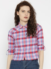 SPYKAR Women Pink Checked Casual Shirt