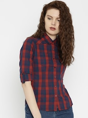 SPYKAR Women Navy & Red Checked Shirt