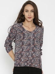 SPYKAR Women Blue Printed Casual Shirt