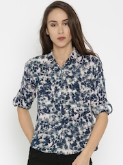 SPYKAR Women Blue Printed Shirt