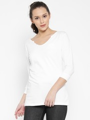 SPYKAR Women White Solid Round Neck T-shirt