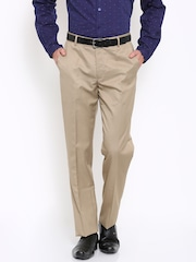 John Players Men Beige Solid Regular Fit Flat-Front Formal Trousers