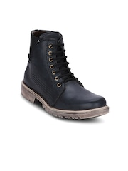 Kielz Men Black Solid Mid-Top Flat Boots