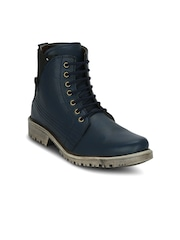 Kielz Men Blue Solid Mid-Top Flat Boots