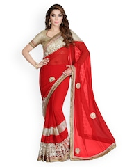 Saree Swarg Red Embroidered Faux Georgette Embellished Saree