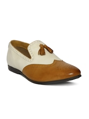 Bata Men Brown & Off-White Colourblocked Walder Leather Slip-Ons