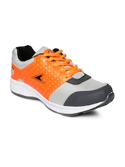 Power Men Grey & Orange Walking Shoes