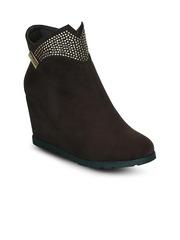 Kielz Women Brown Solid Suede Heeled Boots
