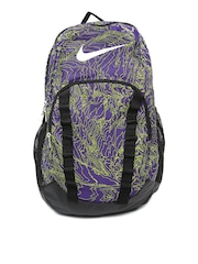 Nike Unisex Purple & Green Brasilia 7 Printed Backpack