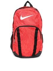 Nike Unisex Red & Black Brasilia 7 Printed Backpack