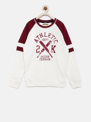 Indian Terrain Boys White & Burgundy Printed Pullover Sweatshirt