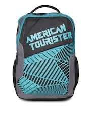 AMERICAN TOURISTER Unisex Black & Blue Printed Backpack