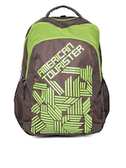 AMERICAN TOURISTER Unisex Brown & Green Printed Backpack