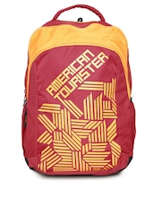 AMERICAN TOURISTER Unisex Red & Yellow Printed Backpack